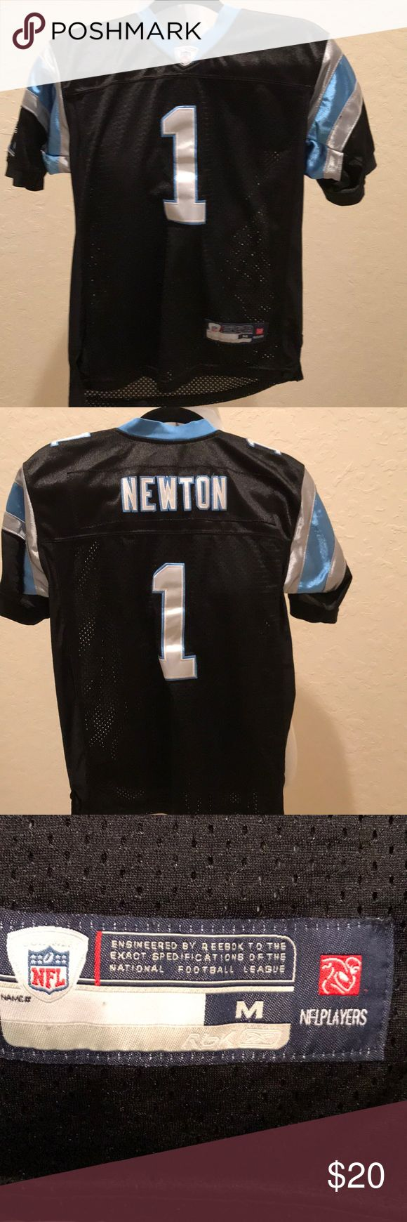 Youth Size Cam Newton Jersey! Reebok Youth medium jersey is in very good condition. Numbers are just a little bent from being folded in a drawer. No damage Reebok Shirts & Tops