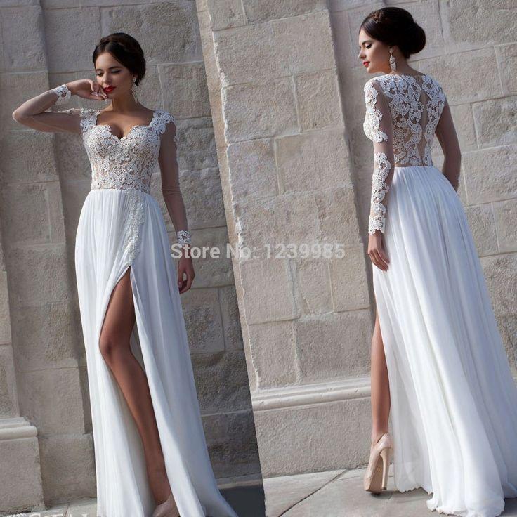 YW003 Modne 2016 Plaża Suknia Ślubna Długie Rękawy Białej Sukni Romantyczny Projekt Sukni Panny Młodej Suknia Dla Nowożeńców(China (Mainland))
