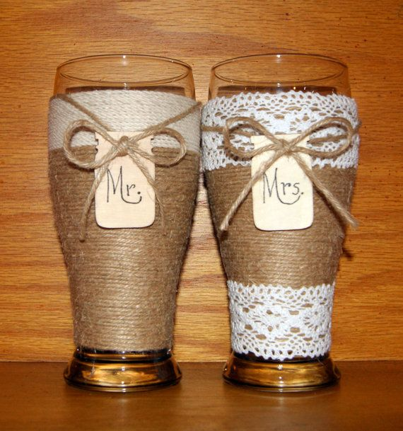 Country Wedding Glasses / Rustic Toasting by CarolesWeddingWhimsy, This set of Rustic Wedding Toasting Beer Glasses, Country Wedding Glasses, Jute Wedding Glasses, Barn Toasting Glasses can be made with Jute and Twine or both the bride or groom or crochet lace for the bride.  You can find it here https://www.etsy.com/listing/169040836/country-wedding-glasses-rustic-toasting