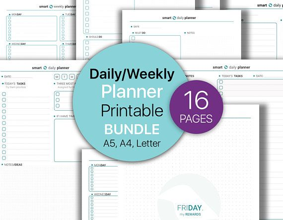 Daily Planner BUNDLE Weekly Planner To Do List Printable