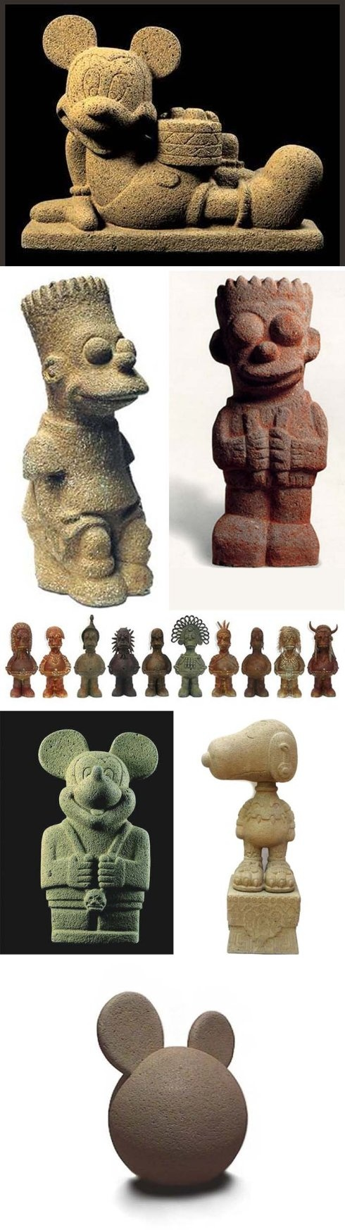 Nadin Ospina, Simpsons, Mickey Mouse, Snoopy, Cartoon characters in stone, Contemporary Colombian art