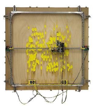 Simon Ingram, Painting Assemblage No. 2, 2005, plywood, aluminium, Lego robotic components, oil paint, DVD