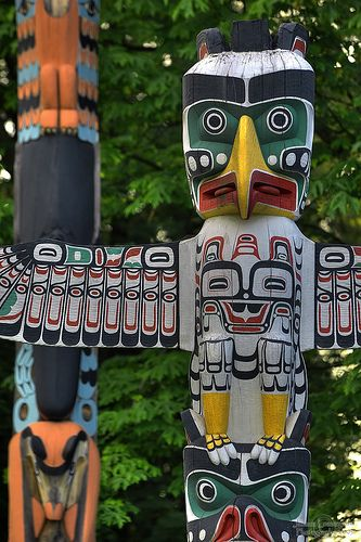 Totem Poles of Stanley Park - Vancouver, British Columbia, Canada