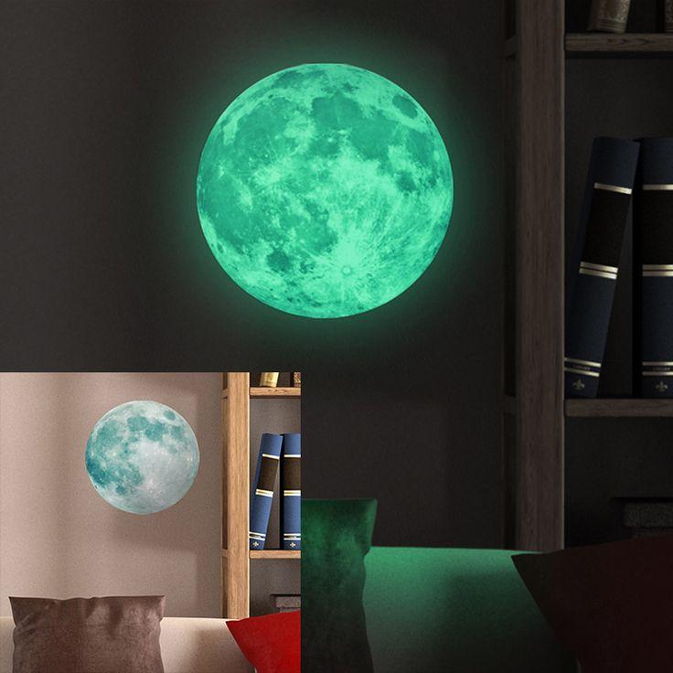 30 سنتيمتر الكبير القمر يتوهج في الظلام مضيئة ديي جدار ملصقات ملصقا المعيشة ديكور المنزل adesivo دي parede vinilos باريديس muraux