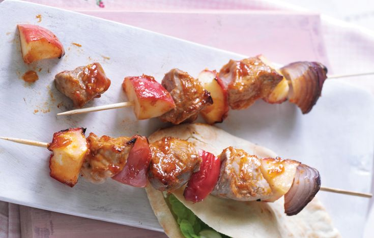 BBQ pork and apple kebabs