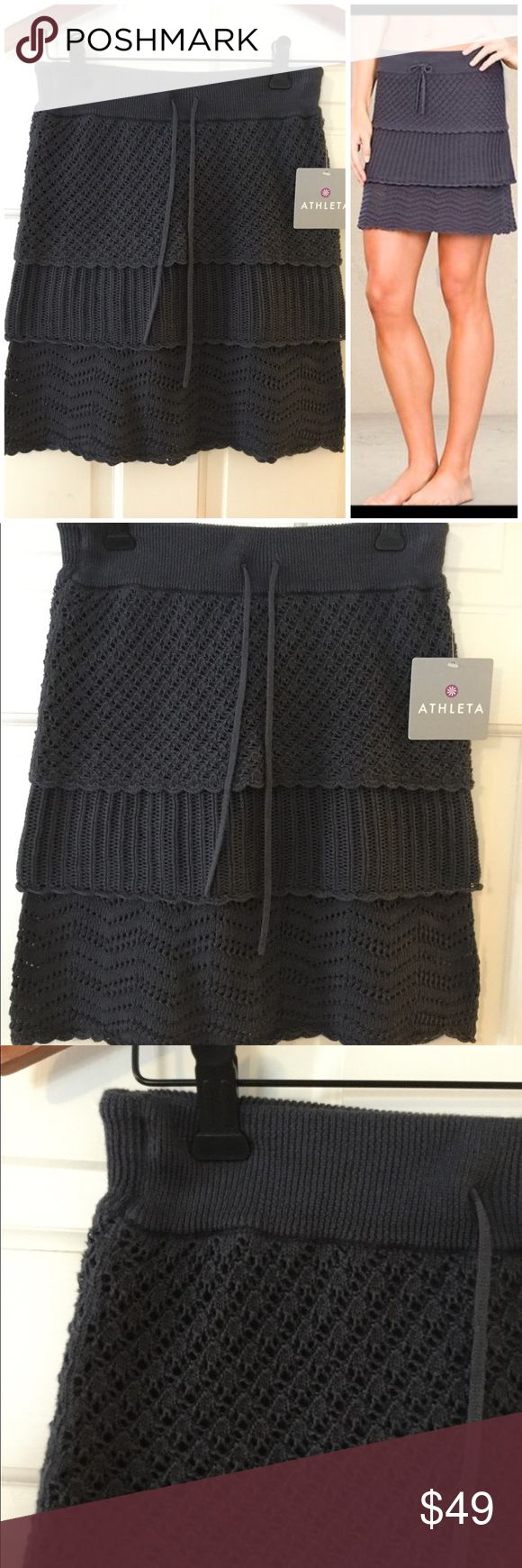 """🆕 Athleta crochet layer skirt Three crochet patterns layer for one cute skirt. 100% cotton. Hand wash.  Waist across 12.75"""". Length 18"""". Brand new with tag. Retail price $79. Smoke free and pet free. Athleta Skirts Mini"""