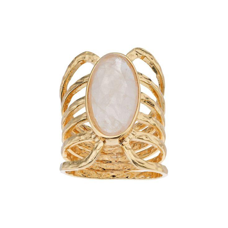 olive & ivy Rose Quartz Multirow Ring, Women's, Size: 9, Pink