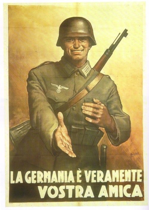 Italian WW2 poster Text: Germany is really your friend.