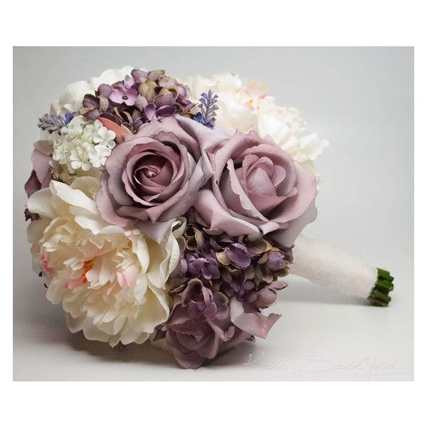 Lavender Rose Hydrangea and Peony Shabby Chic Wedding Bouquet ❤ liked on Polyvore featuring home, home decor, floral decor, shabby chic home decor, flowers hydrangeas bouquets, peony rose bouquet, rose bouquet and hydrangea bouquet