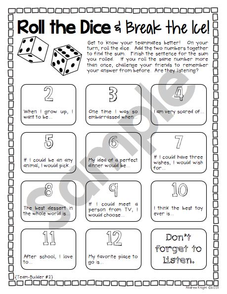 "This TEAMBUILDING activity from ""Dice Discussions"" is perfect for back-to-school or any time of the year when building the classroom community is needed.  32 pages, $  #backtoschool  #icebreakers"