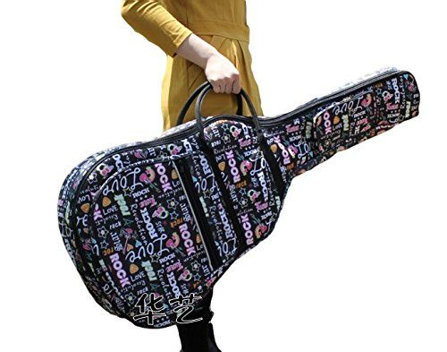 Amazon.co.jp: WP ソフトギターケース! 【 アコースティックギター ソフトケース 可愛い文字柄 】 ギターケース アコギケース ギター※◆ピック付き: 楽器