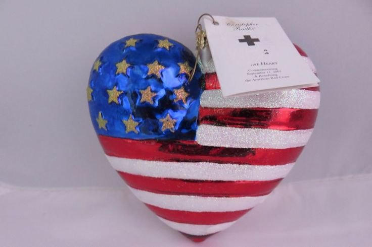 Christopher Radko BRAVE HEART Shaped AMERICAN RED CROSS Flag 9-11 Ornament w/Tag
