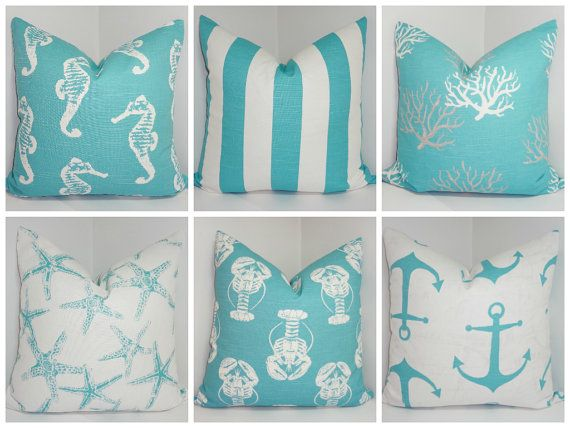 Nautical Decorative Pillow  Starfish Seahorse Stripe Coral Blue/White Beach Ocean Pillows All Sizes