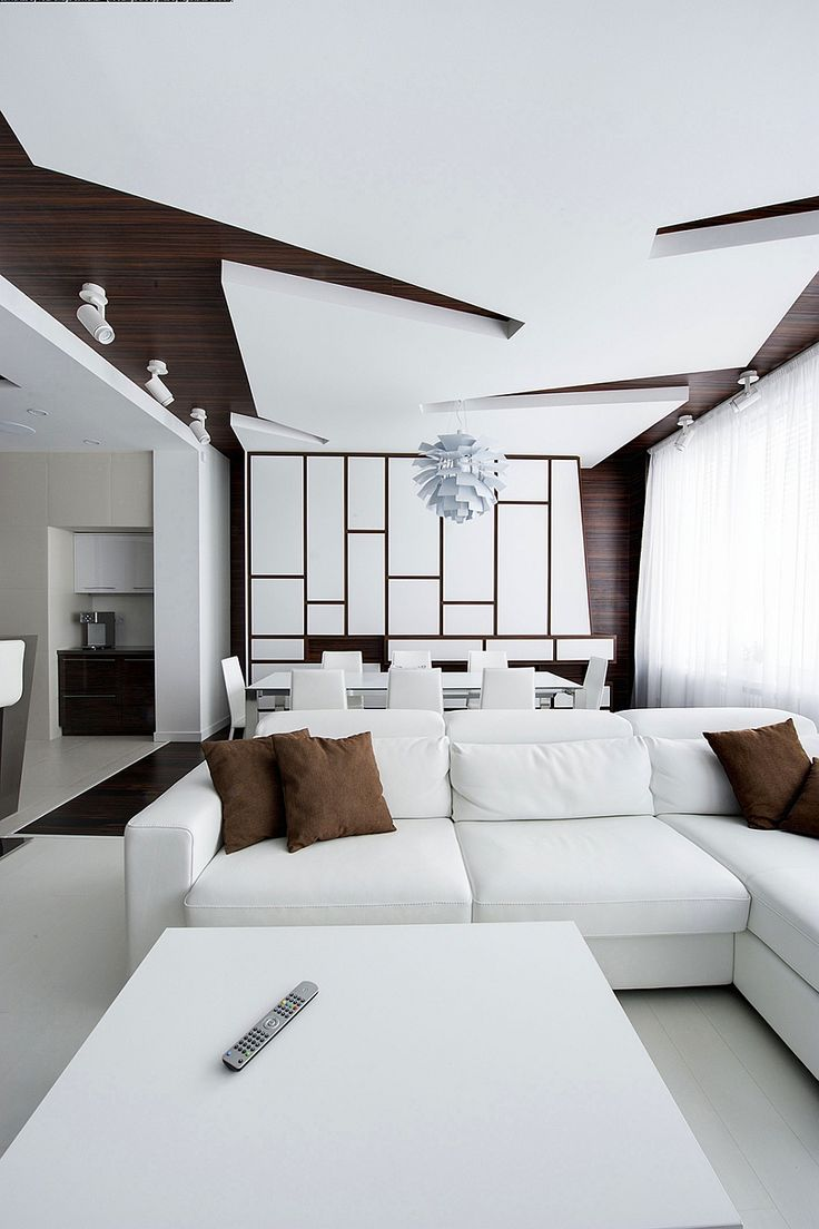 Interior: Luxury White Living Area Interior Decoration With White Leather  Upholstered Sofa And Brown Cushions Also White Dining Table And White Modern  ...