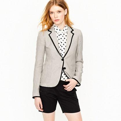 Schoolboy blazer in tipped linenLight Pink Blazers, Polka Dots, Linens Blazers, Style, Closets, J Crew Schoolboy, Work Outfits, Jcrew, Schoolboy Blazers