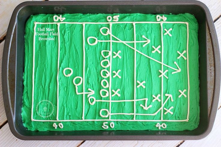 Hail Mary Playbook Football Field decorated brownies! Super simple!