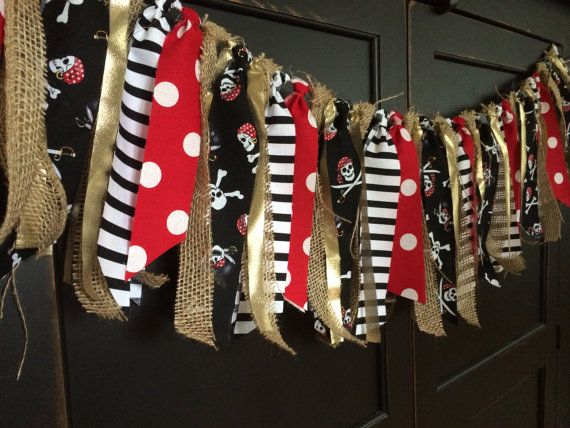 Pirate Adventure Rag Tie Garland, Bunting, Banner, Backdrop, Photo Prop Skull and Crossbones, Red, Black, White, Gold