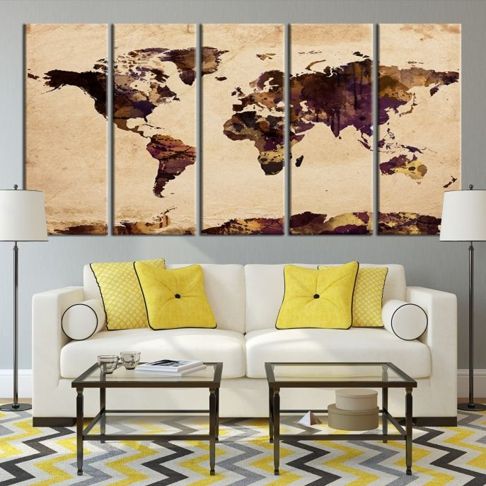 51 best Watercolor World Map Canvas Print images on Pinterest ...