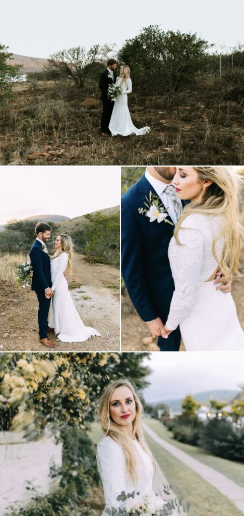Minimalistic inspired wedding with long sleeved tailored wedding dress, navy blue grooms suit and touches of greenery!  https://www.theprettyblog.com/wedding/stylish-minimalist-a-must-see-wedding-in-cradock/?utm_campaign=coschedule&utm_source=pinterest&utm_medium=The%20Pretty%20Blog&utm_content=Stylish%2C%20Must-See%20Wedding%20in%20Cradock | Aglow Photography |