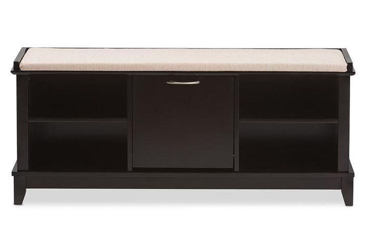 Baxton Studio Swiss Brown Wooden Shoe Storage Seating Bench w/Taupe Cushion