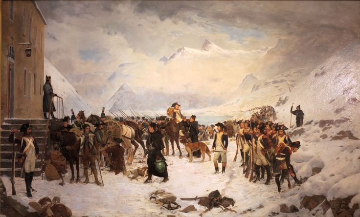 Napoleon passing the Great St Bernard Pass, by Edouard Castres.