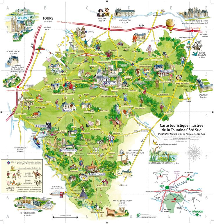 Carte de la Touraine Côté Sud. Vallée de la Loire
