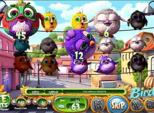 Игровой автомат Birds – играть на деньги  Главными героями игрового аппарата Birds стали забавные птицы. Привычные линии выплат в этом онлайн автомате отсутствуют. Выгоднее играть на реальные деньги вам помогут фриспины и риск-игра.