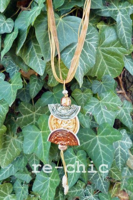 Collana con capslule, cordoncini e nastro - Nespresso pods necklace