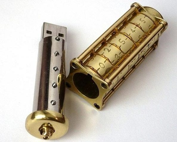 A USB stick. With a lock. Steampunk galore