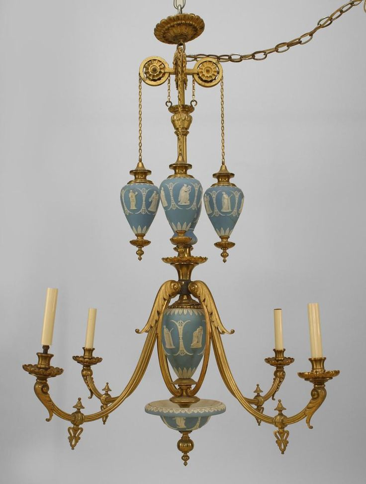 English Adam Style Bronze Dore And Wedgewood 4 Arm Chandelier With 4 Hanging Wedgwood Urns (Hallmarks) (Originally Fitted For Gas)  c. 19th Century