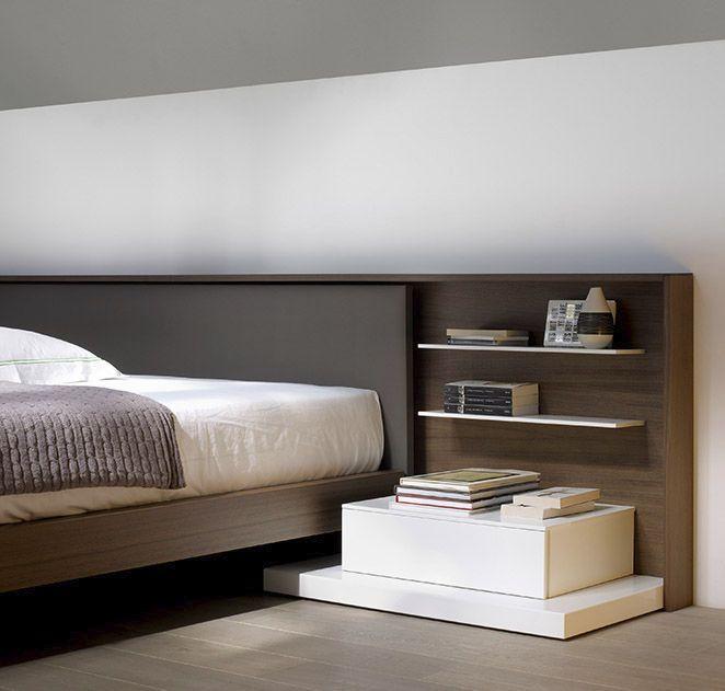 T te de lit avec tag res et tiroir divers pinterest - Tete de lit avec etagere ...