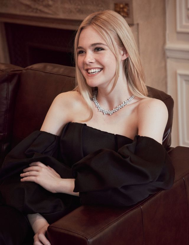 Elle Fanning in a behind-the-scenes photo from her Tiffany & Co. campaign.