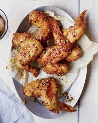 Hot-and-Sticky Lemon-Pepper Chicken Wings Recipe: Food Recipes, Lemon Peppers Wings, Chicken Recipes, Hotandsticki Lemonpepp, Hot And Sticky Lemon Pepp, Lemon Peppers Chicken, Chicken Wings Recipes, Lemonpepp Chicken, Lemon Pepp Chicken