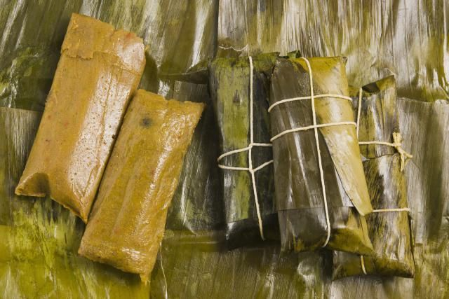 Pasteles are wrapped green banana stuffed meat pastries, traditionally served at Christmas time in Puerto Rico.
