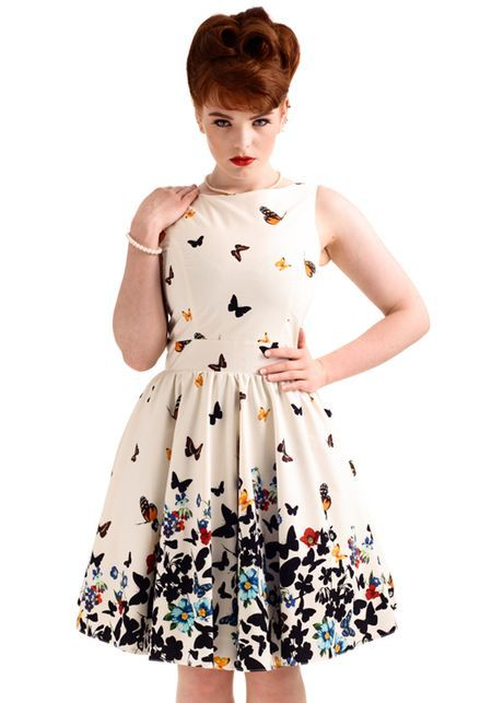 Beautiful White Butterfly, Tea mekko - Lady Vintage