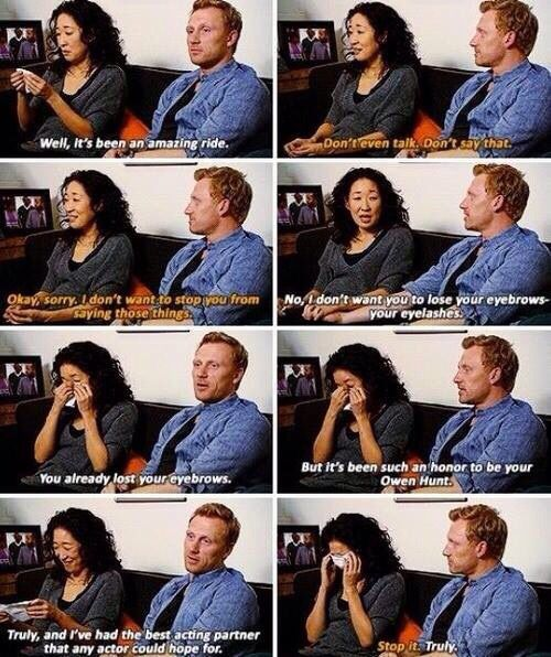 """And it's been an honor to be your Owen Hunt.""  Kevin McKidd to Sandra Oh. That's the real deal."