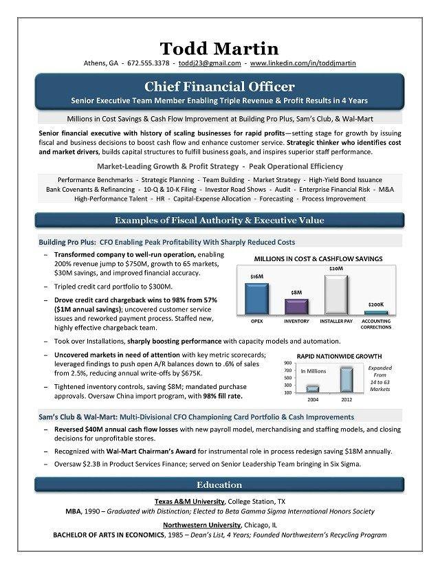 Award Winning CFO Resume Sample Page 1 Executive Resume Samples