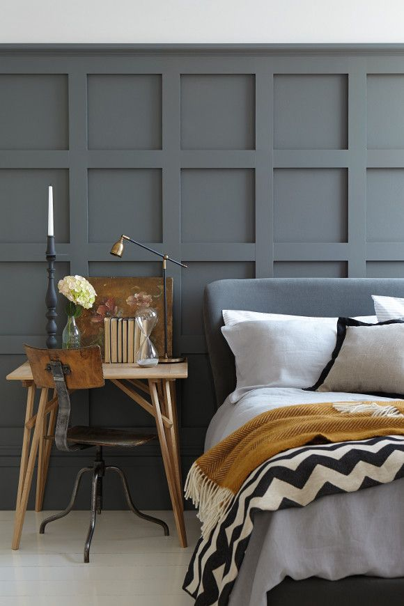 Deep grey wall panelling - historic elegance and practicality all in one.
