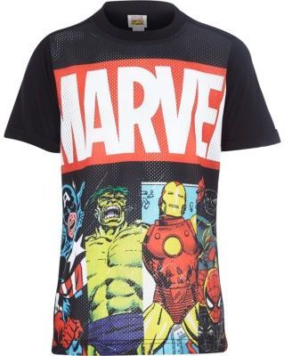 River Island Boys black Marvel print mesh t-shirt on shopstyle.co.uk