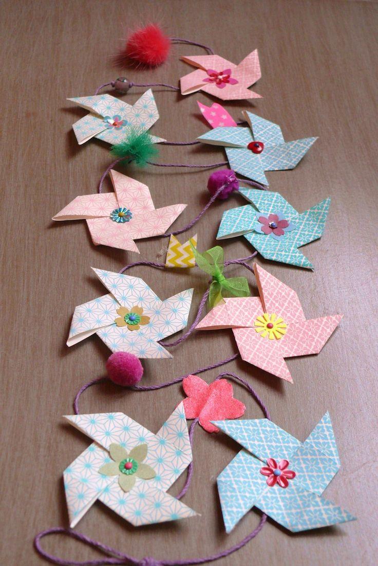 guirlande origami en papier japonais d corations murales par taos craft pinterest. Black Bedroom Furniture Sets. Home Design Ideas