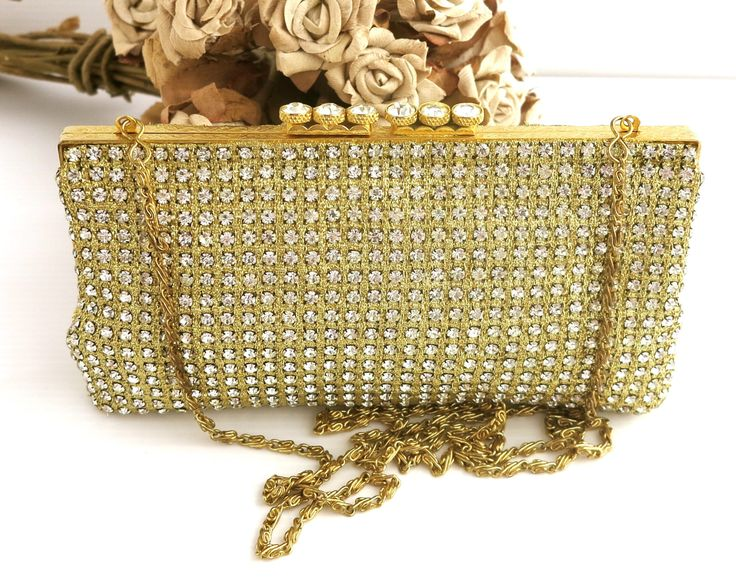 Vintage rhinestone bag covered with rhinestones, gold engine turned frame with 6 enormous rhinestones on top, long chain handle, circa 1960s by CardCurios on Etsy