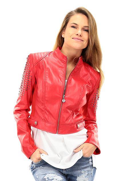 Twin Set Jeans - Giacche - Abbigliamento - Giacca in ecopelle con applicazione di borchie sulle maniche e zip di chiusura sul davanti. Foderata. - BACCA - € 190.00
