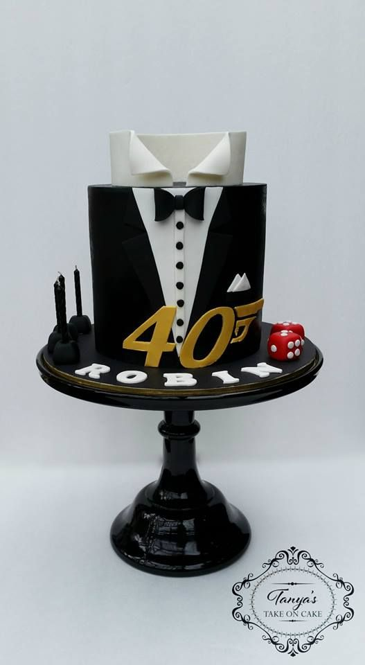 James Bond Cake, 007 cake, tuxedo fondant cake.