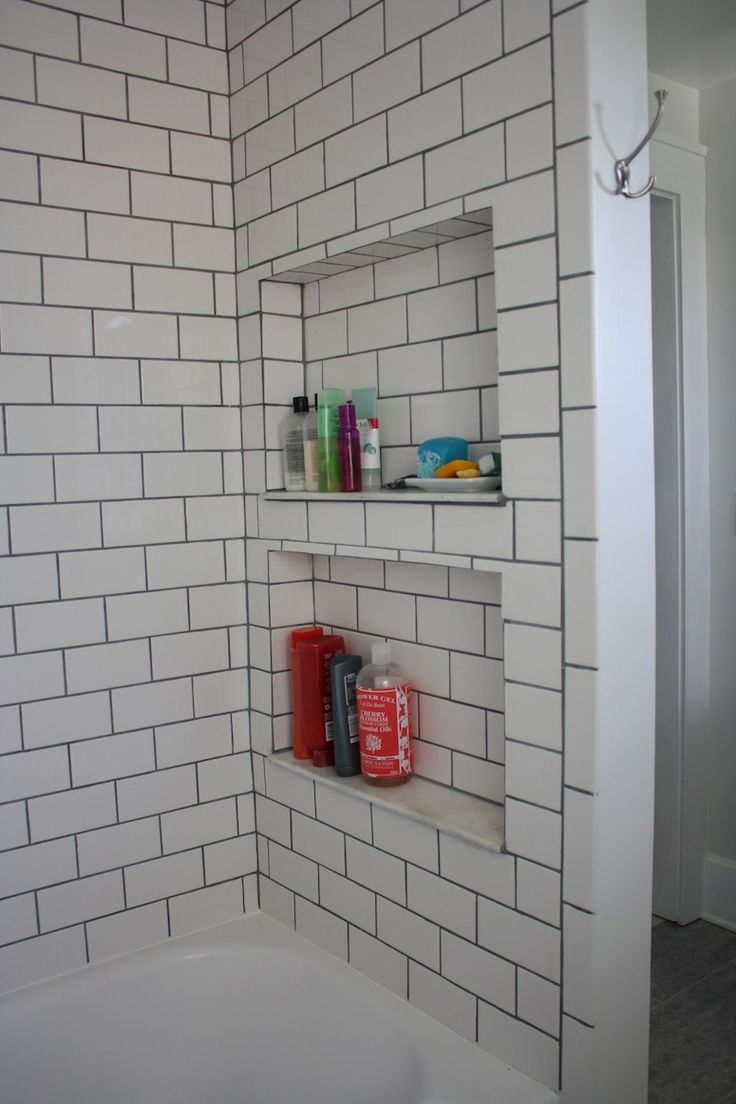 Bovard interiors bathrooms modern bathroom rubber ducky bathroom - Subway Tile Shower With Black Grout And Recessed Shelves Very Nice Bathroom