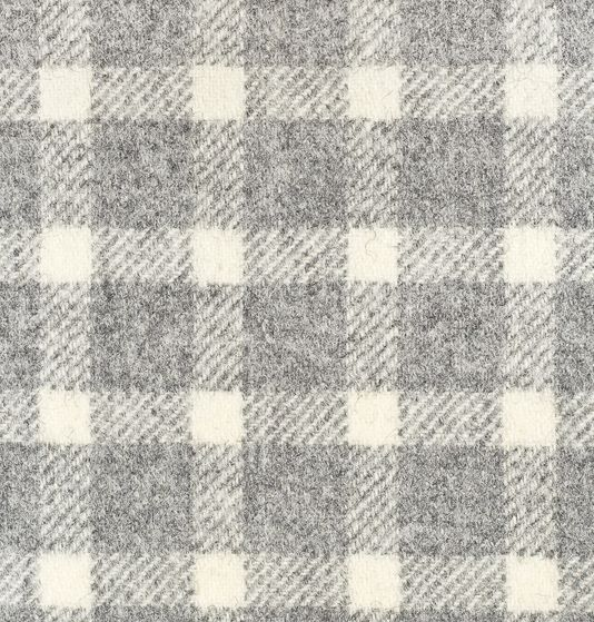 Banff Fabric 100 Wool Small Check Fabric In Light Grey