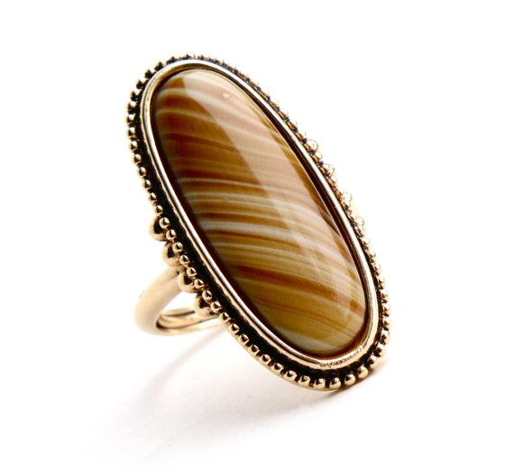SALE - Vintage Yellow Brown Stone Ring - Signed Avon Statement Gold Tone Faux Agate Tigers Eye 1970s Jewelry / Shimmering Sands Maejean Vintage, $20.00