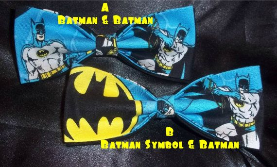 BowTies Made From Batman Fabric - These Cool Ties Have A Great Retro Feel - Choose From 3 Attractive Bow Ties - U.S. SHIPPING ALWAYS 1.49 via Etsy