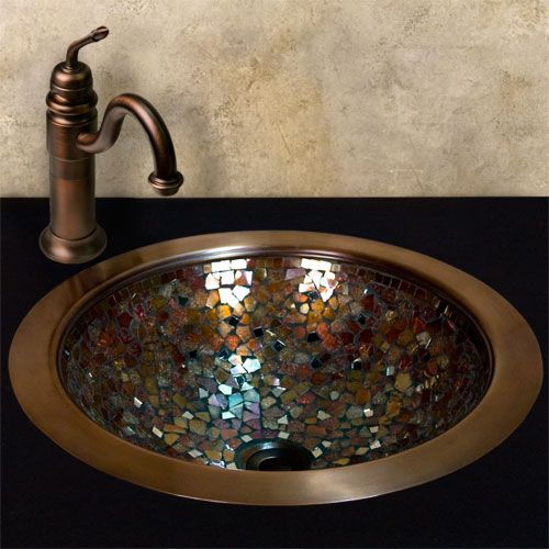 Copper & glass mosaic sink.. I would love to do this to Brae's future sink!