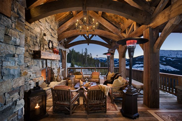 somedayCabin, Dreams, Outdoor Living, Outdoor Patios, House, Outdoor Fireplaces, Porches, Timber Frames, Outdoor Spaces