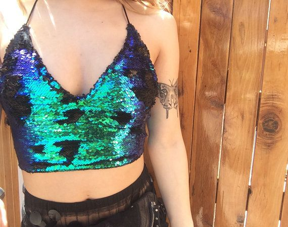 Ursula Reversible Sequin Bralette by CocooonClothing on Etsy